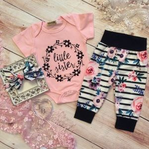 Other - Boutique Baby Girl 3pc Sister Outfit